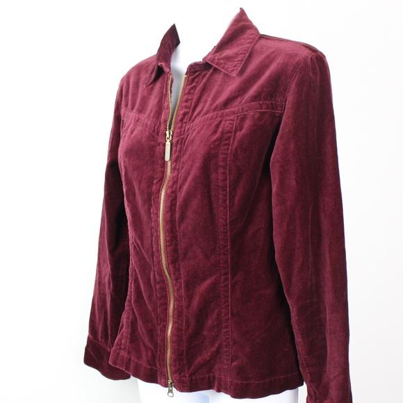 CAbi Jackets & Blazers - CAbi burgundy red velvet jacket full zip collar